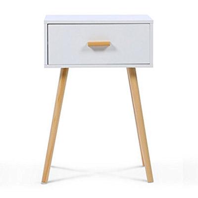 table de chevet scandinave bois et blanc