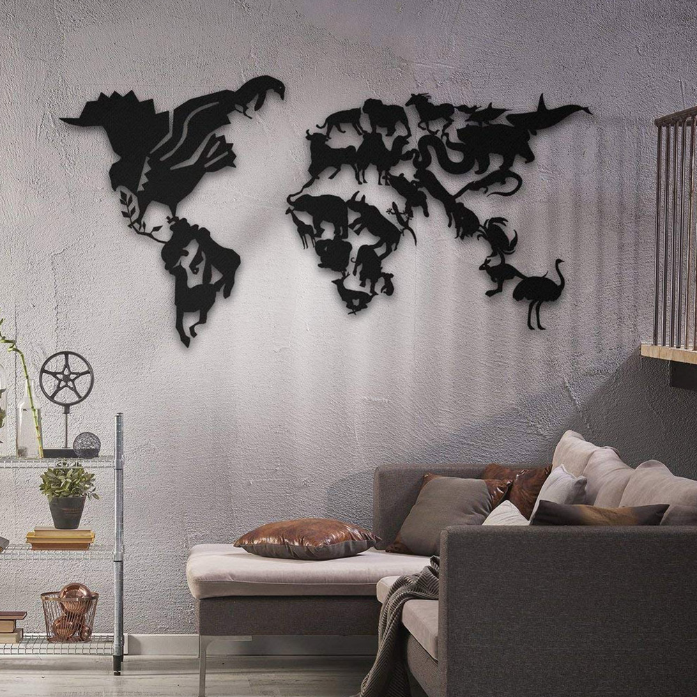carte du monde murale en métal northshire